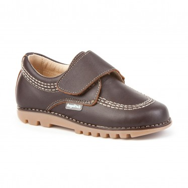 Boys Leather Derby School Shoes Velcro Rounded Toe 301 Chocolate, by AngelitoS