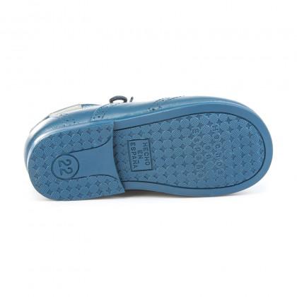 Zapatos Inglesitos Colegiales Infantil Niño Niña Piel Cordones 505 Azul, de Angelitos