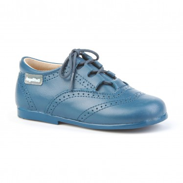 Childrens Boy Girl Leather School English Shoes Lace-up 505 Blue, by AngelitoS