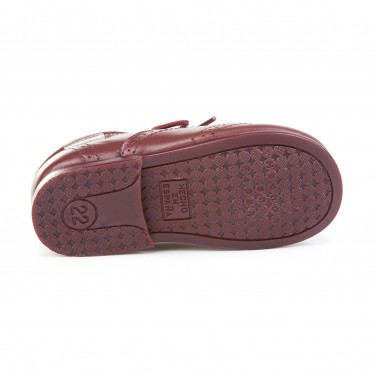 Zapatos Inglesitos Colegiales Infantil Niño Niña Piel Cordones 505 Burdeos, de Angelitos