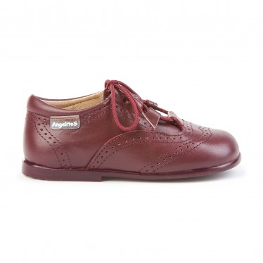 Childrens Boy Girl Leather School English Shoes Lace-up 505 Burgundy, by AngelitoS