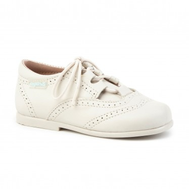 Childrens Boy Girl Leather School English Shoes Lace-up 505 Beige, by AngelitoS