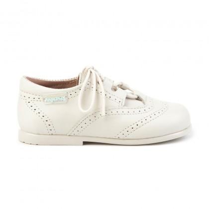 Zapatos Inglesitos Colegiales Infantil Niño Niña Piel Cordones 505 Beige, de Angelitos
