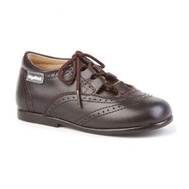 Childrens Boy Girl Leather School English Shoes Lace-up 505 Chocolate, by AngelitoS