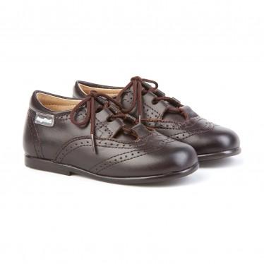 Zapatos Inglesitos Colegiales Infantil Niño Niña Piel Cordones 505 Chocolate, de Angelitos
