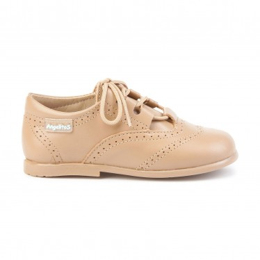 Childrens Boy Girl Leather School English Shoes Lace-up 505 Camel, by AngelitoS