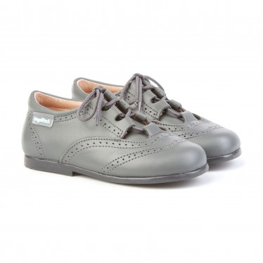 Childrens Boy Girl Leather School English Shoes Lace-up 505 Grey, by AngelitoS