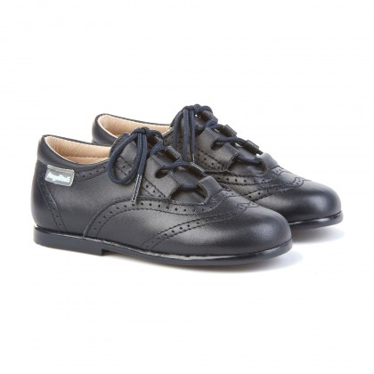 Childrens Boy Girl Leather School English Shoes Lace-up 505 Navy, by AngelitoS