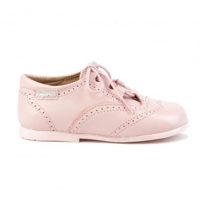 Zapatos Inglesitos Colegiales Infantil Niño Niña Piel Cordones 505 Rosa, de Angelitos