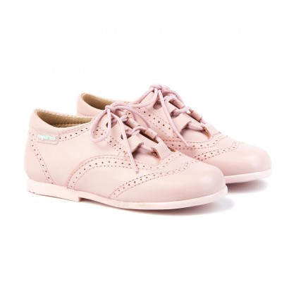 Childrens Boy Girl Leather School English Shoes Lace-up 505 Pink, by AngelitoS