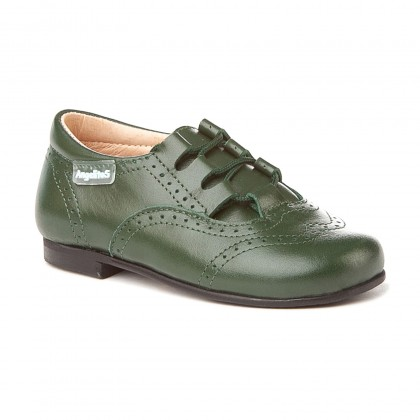 Zapatos Inglesitos Colegiales Infantil Niño Niña Piel Cordones 505 Verde, de Angelitos