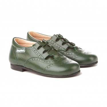 Childrens Boy Girl Leather School English Shoes Lace-up 505 Green, by AngelitoS