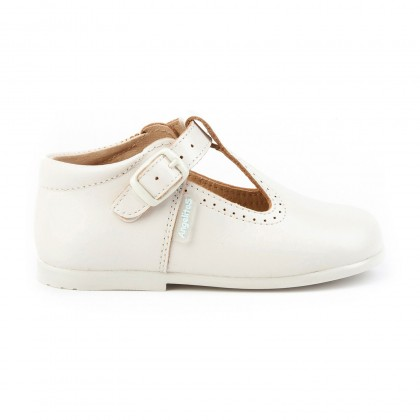 Childrens Boy Girl Leather School T-Strap Shoes Buckle 503 Beige, by AngelitoS