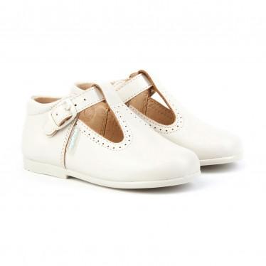 Zapatos Pepitos Colegiales Infantil Niño Niña Piel Hebilla 503 Beige, de Angelitos
