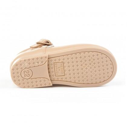 Zapatos Pepitos Colegiales Infantil Niño Niña Piel Hebilla 503 Camel, de Angelitos