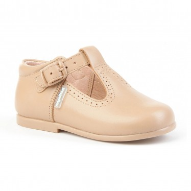 Childrens Boy Girl Leather School T-Strap Shoes Buckle 503 Camel, by AngelitoS