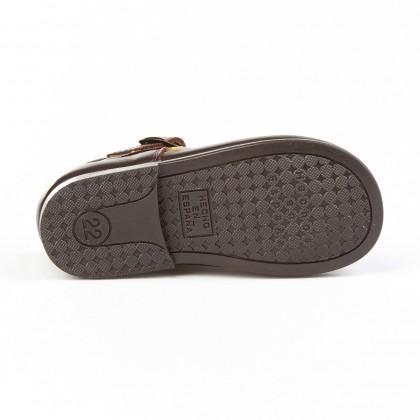 Zapatos Pepitos Colegiales Infantil Niño Niña Piel Hebilla 503 Chocolate, de Angelitos