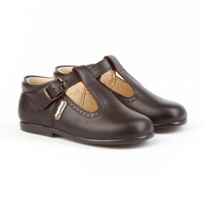 Childrens Boy Girl Leather School T-Strap Shoes Buckle 503 Chocolate, by AngelitoS