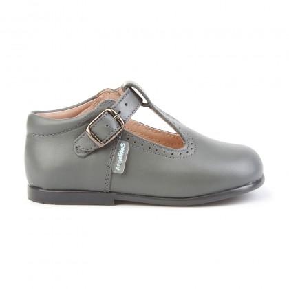 Zapatos Pepitos Colegiales Infantil Niño Niña Piel Hebilla 503 Gris, de Angelitos