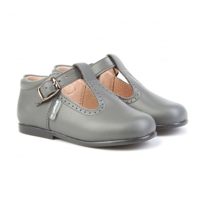 Childrens Boy Girl Leather School T-Strap Shoes Buckle 503 Grey, by AngelitoS