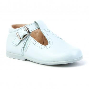 Zapatos Pepitos Colegiales Infantil Niño Niña Piel Hebilla 503 Celeste, de Angelitos