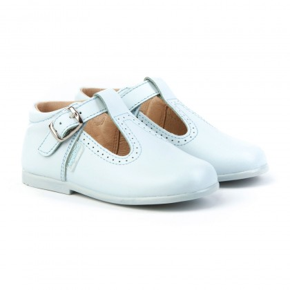 Childrens Boy Girl Leather School T-Strap Shoes Buckle 503 Sky Blue, by AngelitoS