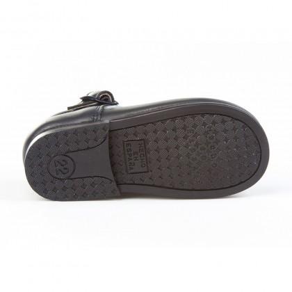 Zapatos Pepitos Colegiales Infantil Niño Niña Piel Hebilla 503 Marino, de Angelitos