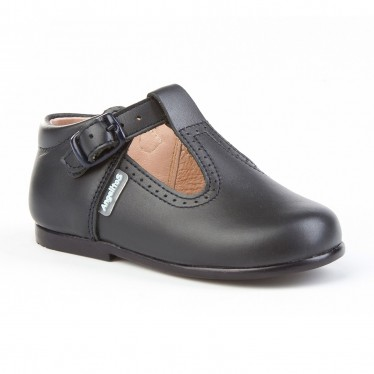 Childrens Boy Girl Leather School T-Strap Shoes Buckle 503 Navy, by AngelitoS
