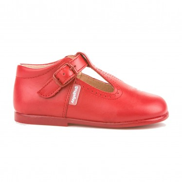 Childrens Boy Girl Leather School T-Strap Shoes Buckle 503 Red, by AngelitoS