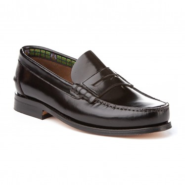 Boys Leather Penny Loafers School Shoes Leather Sole 595 Black, by AngelitoS