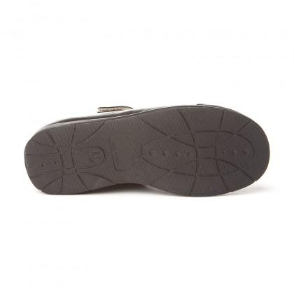 Merceditas Colegiales Niña Piel Puntera Refozada Velcro 463 Negro, de Angelitos