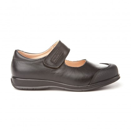 Girls Leather School Mary Jane Shoes Reinforced Toe Velcro 463 Black, by AngelitoS