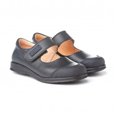 Girls Leather School Mary Jane Shoes Reinforced Toe Velcro 463 Navy, by AngelitoS