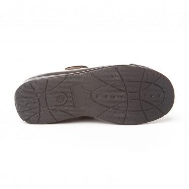 Merceditas Colegiales Niña Piel Puntera Refozada Velcro 463 Chocolate, de Angelitos