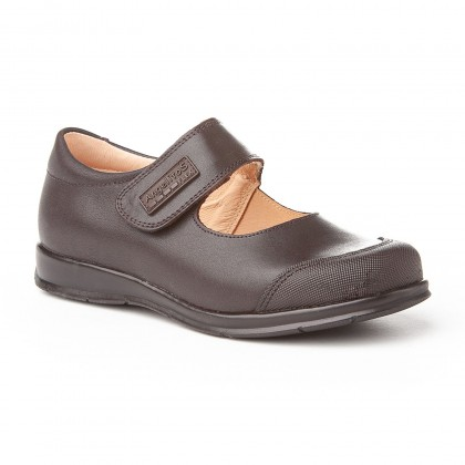 Girls Leather School Mary Jane Shoes Reinforced Toe Velcro 463 Chocolate, by AngelitoS