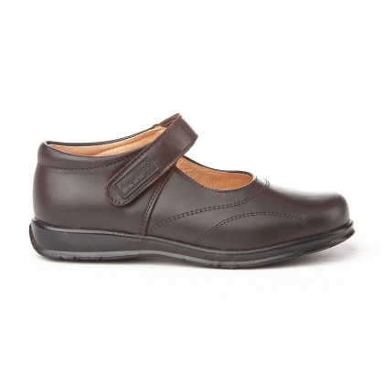 Girls Leather School Mary Jane Shoes Stitches Velcro 461 Chocolate, by AngelitoS