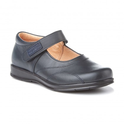 Girls Leather School Mary Jane Shoes Stitches Velcro 461 Navy, by AngelitoS