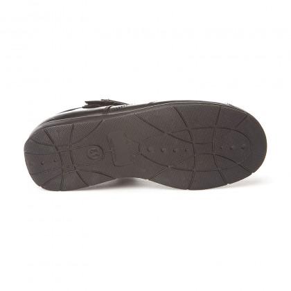 Merceditas Colegiales Niña Piel Prespuntes Velcro 461 Negro, de Angelitos