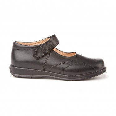 Girls Leather School Mary Jane Shoes Stitches Velcro 461 Black, by AngelitoS