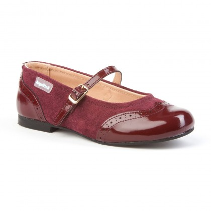 Girls Split Leather School Mary Jane Shoes Patent Toe 1525 Burgundy, by AngelitoS