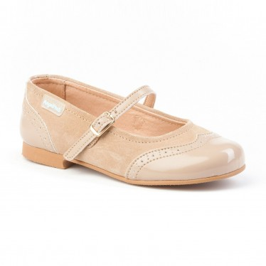 Girls Split Leather School Mary Jane Shoes Patent Toe 1525 Camel, by AngelitoS