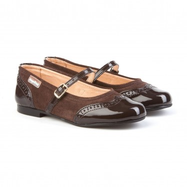 Girls Split Leather School Mary Jane Shoes Patent Toe 1525 Chocolate, by AngelitoS