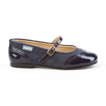 Girls Split Leather School Mary Jane Shoes Patent Toe 1525 Navy, by AngelitoS