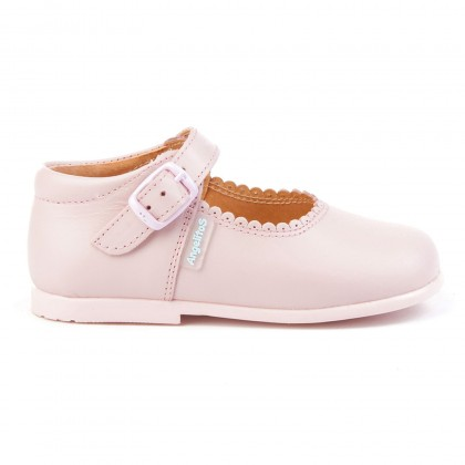Childrens Girl Leather School Mary Jane Shoes Buckle 500 Pink, by AngelitoS