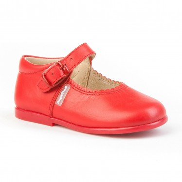 Childrens Girl Leather School Mary Jane Shoes Buckle 500 Red, by AngelitoS