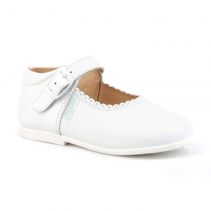Childrens Girl Leather School Mary Jane Shoes Buckle 500 White, by AngelitoS
