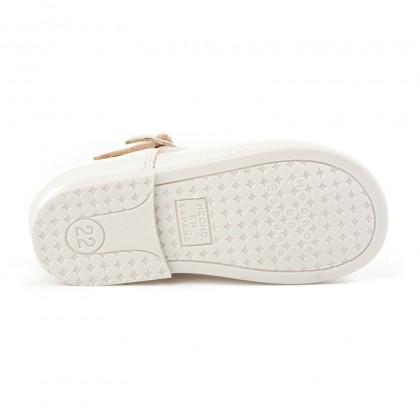 Childrens Girl Leather School Mary Jane Shoes Buckle 500 Beige, by AngelitoS