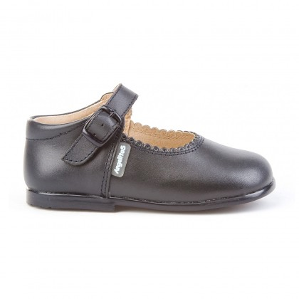 Childrens Girl Leather School Mary Jane Shoes Buckle 500 Navy, by AngelitoS