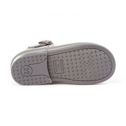 Childrens Girl Leather School Mary Jane Shoes Buckle 500 Grey, by AngelitoS