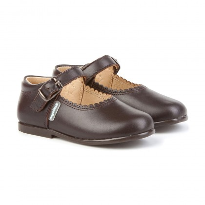 Childrens Girl Leather School Mary Jane Shoes Buckle 500 Chocolate, by AngelitoS